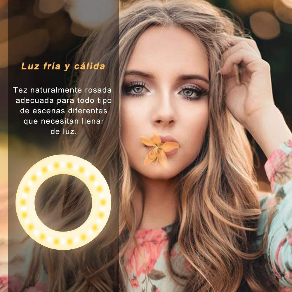 Diyife Anillo de luz Selfie, Versi/ón Mejorada 40 LED USB Recargable Selfie Light Clip en Tel/éfono con Ajuste Continuo de 3 Modos de luz para Youtube Vlog Facebook,Transmisi/ón en Vivo Maquillaje