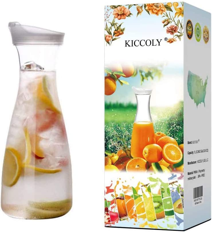 Pitcher Carafes With Lid For Juice 34 Oz Plastic Carafe With Lid For Juice With Lid Decanter Drink Bottle 1 Liter Pitcher Beverage Container Kettle Carafes For Juice Plastic Carafes
