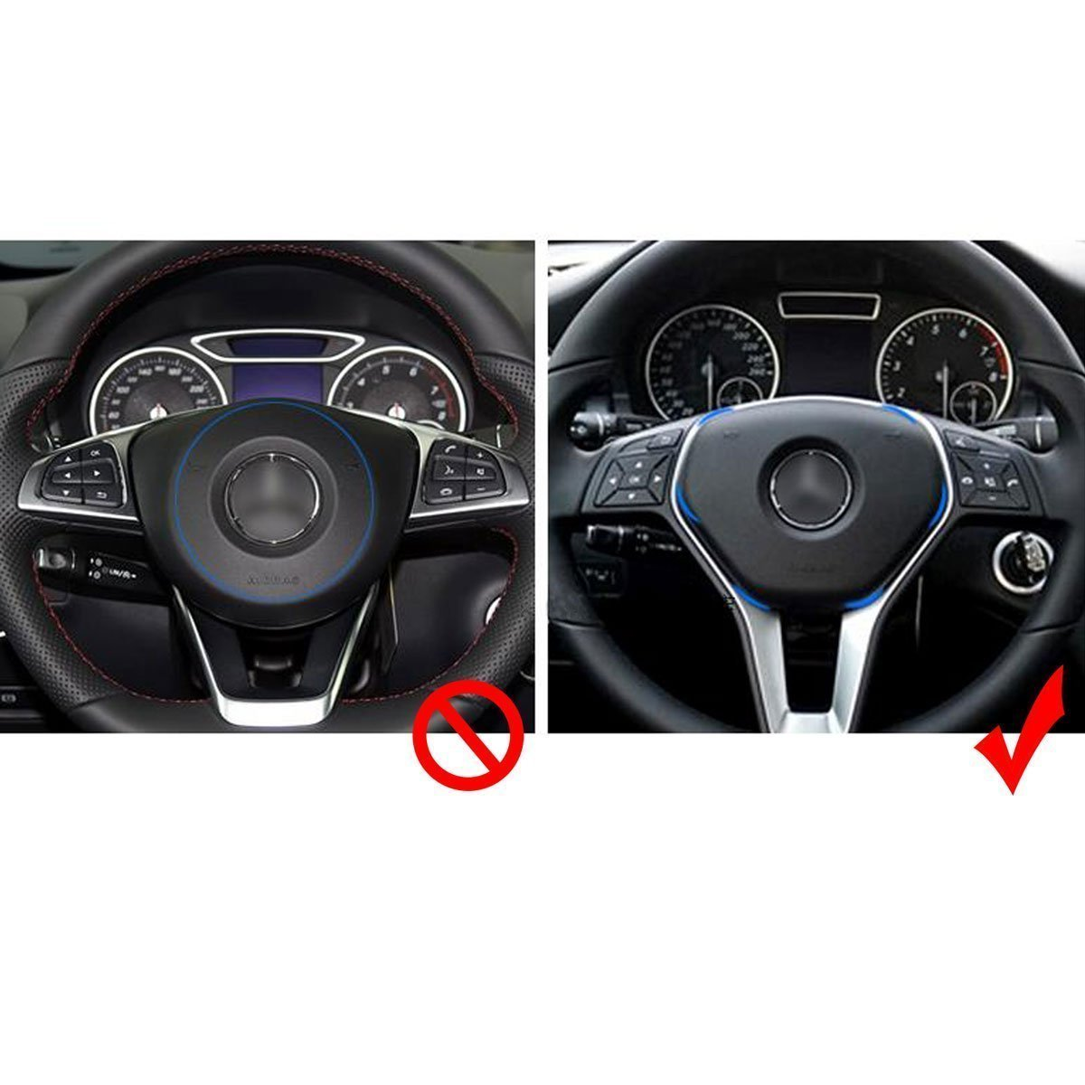 Car 3D Steering Wheel Center Logo Trim Ring for Mercedes Benz B C GLK Xotic Tech Car Interior Decoration Aluminum Alloy Blue Xotic Tech Direct