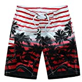 Chenchen Itd Men's Coco Fashion Print Casual Classic Slim Short Summer Beach Shorts Red