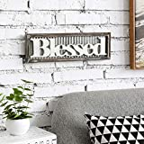 MyGift Blessed Vintage White Wood Wall Art Hanging