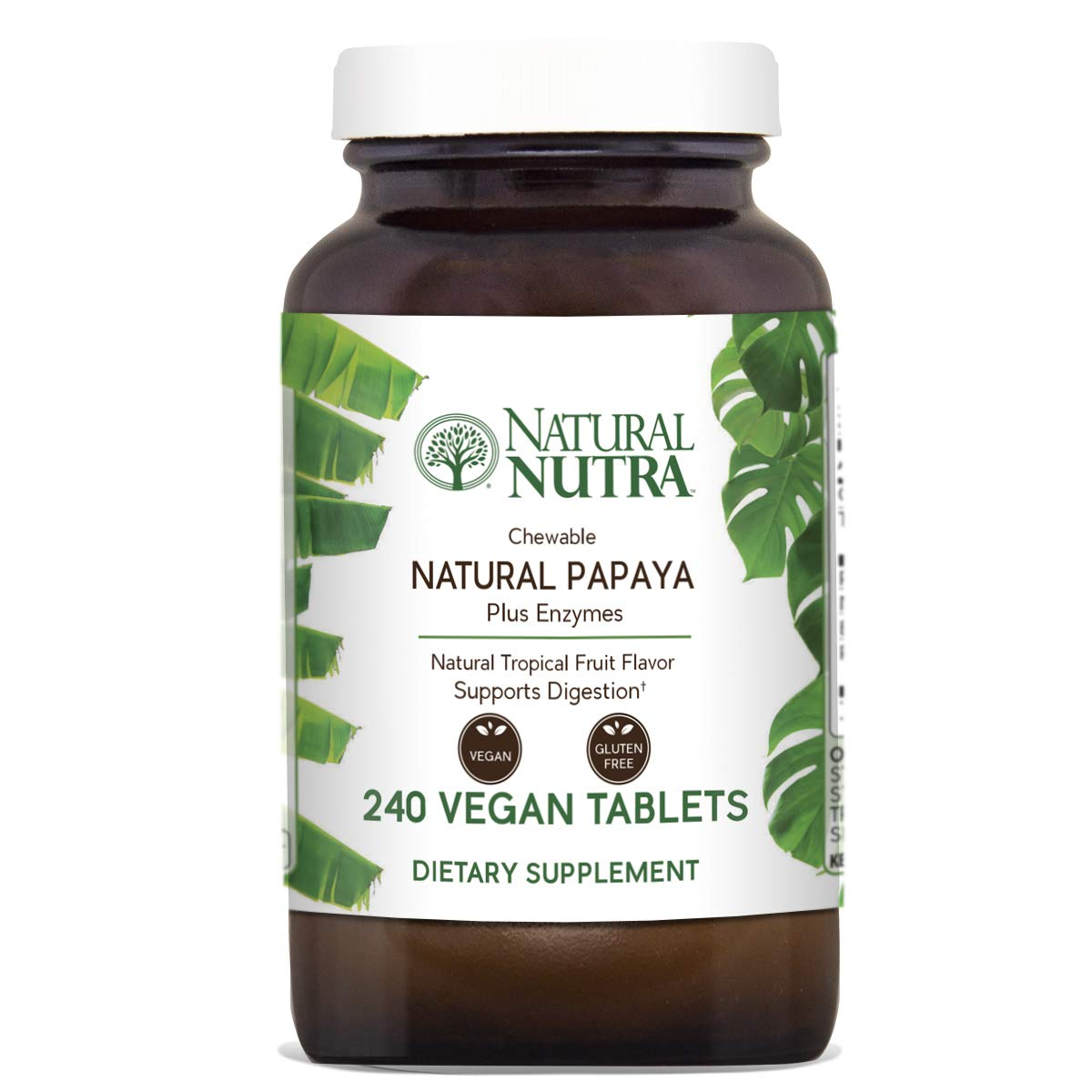 Natural Nutra Papaya Chewable Plant Enzymes for Digestion, Bloating, Gas and Constipation Relief with Papain, Protease, Bromelain, Amylase and Protease, 240 Chewable Vegan Tablets