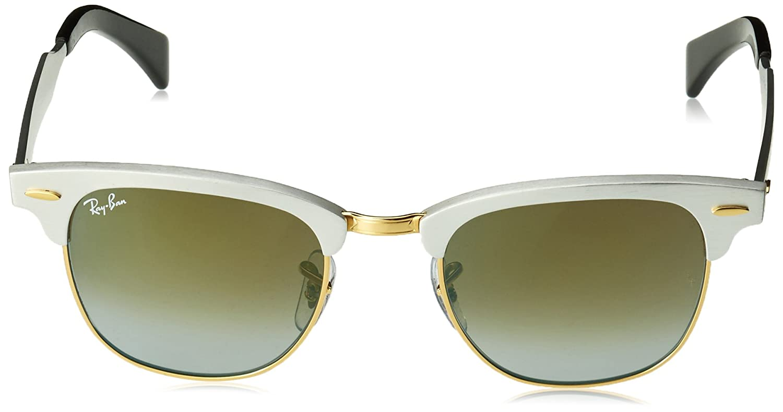 64e726e07f Amazon.com  Ray-Ban CLUBMASTER Aluminum Square Sunglasses BRUSHED SILVER  49mm  Clothing