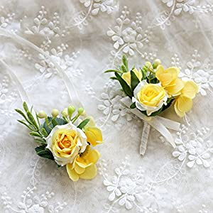 Florashop Satin Rose Green Berry Corsage and Boutonniere Pack Wedding Bridal Bridesmaid Wrist Corsage Band Men's Groom Bridegroom Boutonniere for Wedding Prom Party Homecoming (Yellow) 104