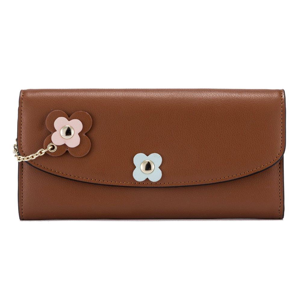 Caramel1 Leather Wallet for Women, Genuine Leather Purse Mini Money Organizer Credit Holder Clutch Ladies Travel Purse