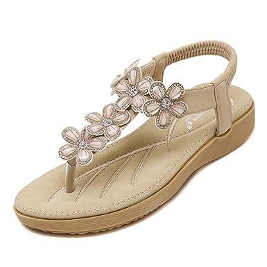 Minetom Femme Été Mode Doux Fleur Sandales Bohème Style Sandals Chaussures Plat Plage Antidérapant Shoes Sandales IGRObI0s