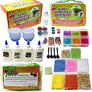 Giant DIY Slime KIT - Slime Accessories to Make Unicorn Slime - Fluffy Slime - Crunchy Slime - Clear Slime - Beads - Gift for Girls and Boys - Reusable Slime CONTAINERS - Tools - Slime ACTIVATOR