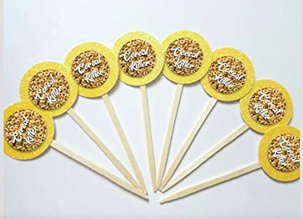 Amazon.com: Set of 12 Funny Cereal Killer Cupcake Toppers ...