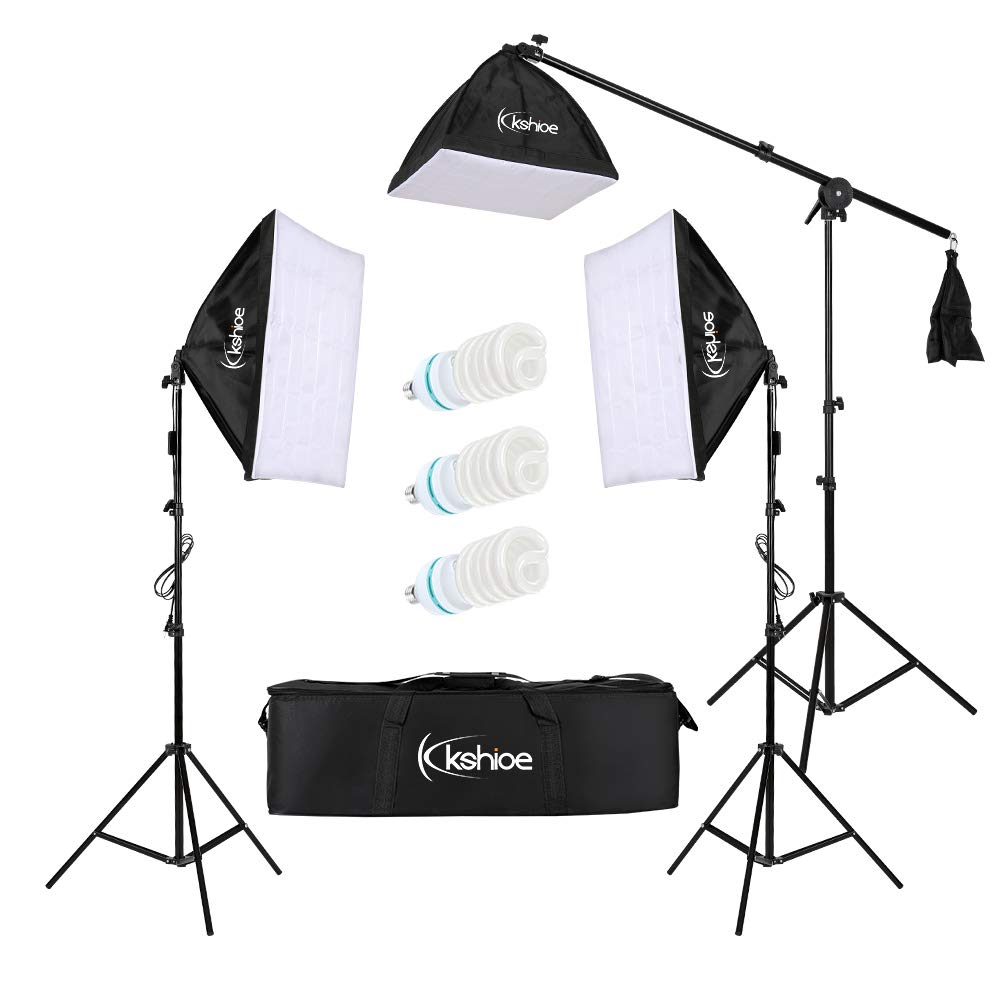 Kshioe Photography Softbox Lighting Kit Continuous Lighting System Photo Equipment Soft Studio Light with Light Stands and Convenient Carry Bag (3 softboxes-24''x24'')
