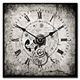 Steampunk Square Wall Clock, Available in 7 sizes, Whisper Quiet, non-ticking