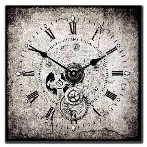 The Big Clock Store Steampunk Square Wall Clock, Available in 7 sizes, Whisper Quiet, non-ticking