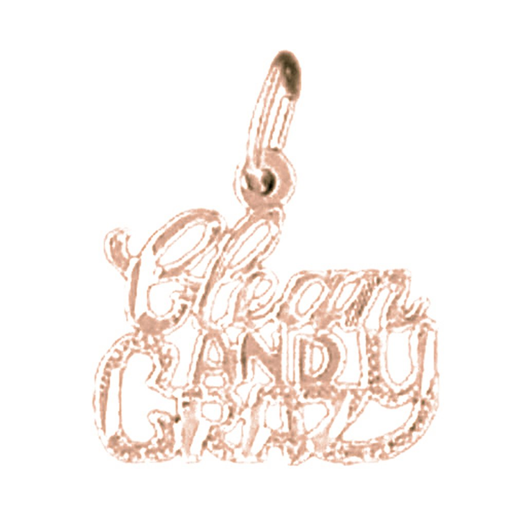 Jewels Obsession Solid 14K Rose Gold Saying Pendant 16 mm