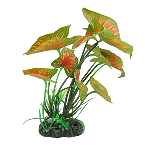 sourcing map Decoración Artificial Vivid Taro Hojas de Color Verde y Naranja Planta Acuario Pecera