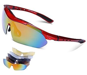 Carifa Lunettes de Soleil / Lunettes de Vélo VTT / Lunettes de Sport avec verres incassables UV400 polarisé + 5 Lentilles (A) kyyQ0BxWDb