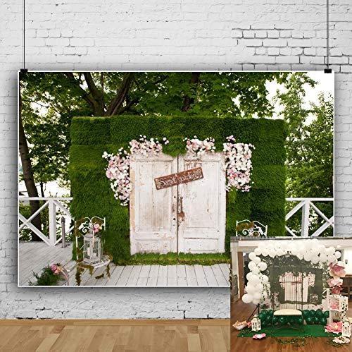 OFILA Secret Garden Backdrop 7x5ft Garden Tea Party Photography Background Baby Shower Party Decoration Girls Birthday Portraits Wedding Photos BBQ Party Shoots Maternity Photos Video Props -