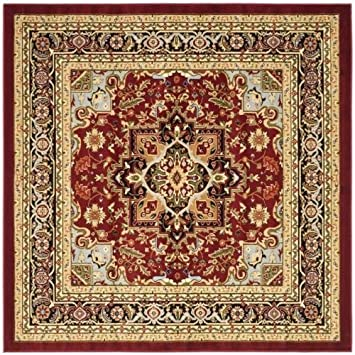 Area Rug 8x8 Square Traditional Red Black Color Safavieh