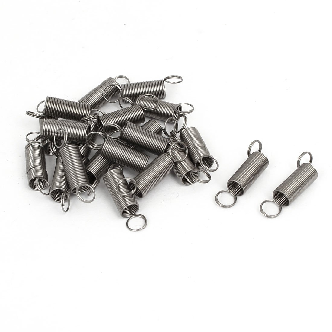 0.5mmx6mmx25mm 304 Stainless Steel Dual Rings Tension Springs Silver Gray 21pcs