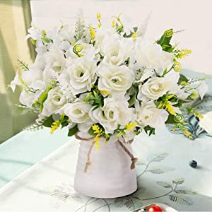 LESING Artificial Flowers with Vase Fake Silk Flowers in Vase Gardenia Flowers Decoration for Home Table Office Party (White)