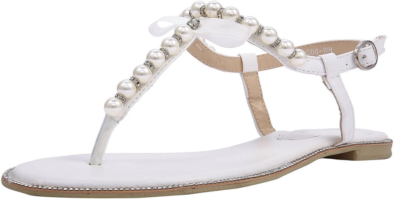 Laras Sandales Plates Sublimes En PU Avec Strass Et Perles