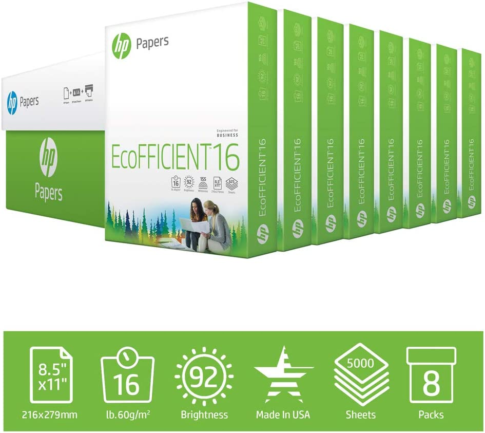 HP Printer Paper 8.5x11 EcoFFICIENT 16 lb 8 Ream Case 5000 Sheets 92 Bright Made in USA FSC Certified Copy Paper HP Compatible 216000C