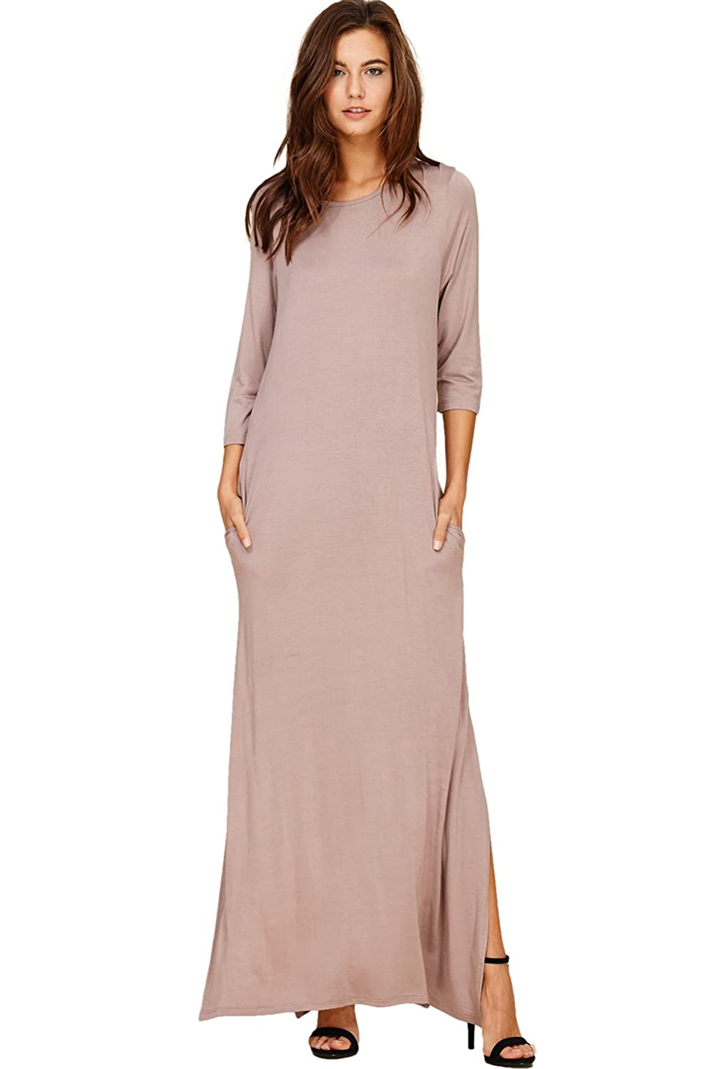 8b06227c338339 Annabelle Women s 3 4 Sleeve Summer Beach Cover Maxi Dress with Pockets  Small Taupe Grey D5296 at Amazon Women s Clothing store