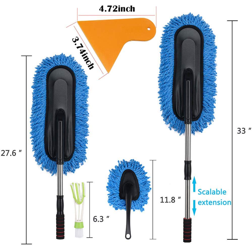 Multi-functional Car Duster Cleaning Dirt Dust Clean Brush Dusting Tool Mop Gray car cleaning products with Squeegee for Window and Car Glass(remove the birds shovel shit) 4 in 1