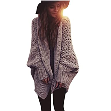 plus récent 9df02 e21ec WanYang Womens Chunky Knitted Cardigan Oversized Knitting Sweater Coat Long  Sleeve Cardigan Jacket Knitwear Outwear For Lady