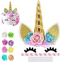 Unicorn Cake Topper, Reusable Unicorn Horn & Ears & Eyelashes and Flowers, Unicorn Party Cake Decoration for Birthday…