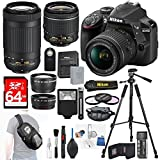 Nikon D3400 24.2 MP DSLR Camera + AF-S DX 18-55mm VR II Lens Kit + Accessory Bundle 64GB SDXC Memory + Sling Backpack+Wide Angle Lens+2x Telephoto Lens+Slave Flash+Remote+Tripod+Filters+MORE!