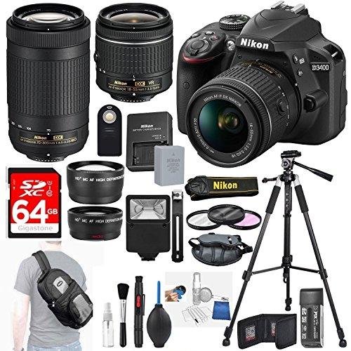 Nikon D3400 24.2 MP DSLR Camera + AF-S DX 18-55mm VR II Lens Kit + Accessory Bundle 64GB SDXC Memory + Sling Backpack+Wide Angle Lens+2x Telephoto Lens+Slave Flash+Remote+Tripod+Filters+MORE! by DigiDeals4Less