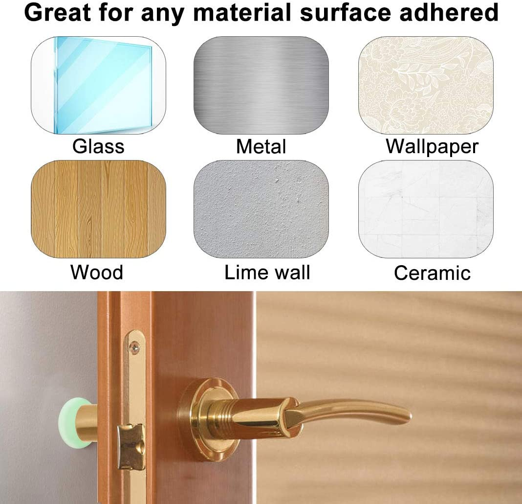 Cabinets 10 Pcs Door Stopper Wall Protector Door Knob Guard with Strong Self-Adhesive 3M Sticker for Protecting Wall Brown Doorknobs Refrigerator Door 1.57 Inch Round Silicone Door Bumper