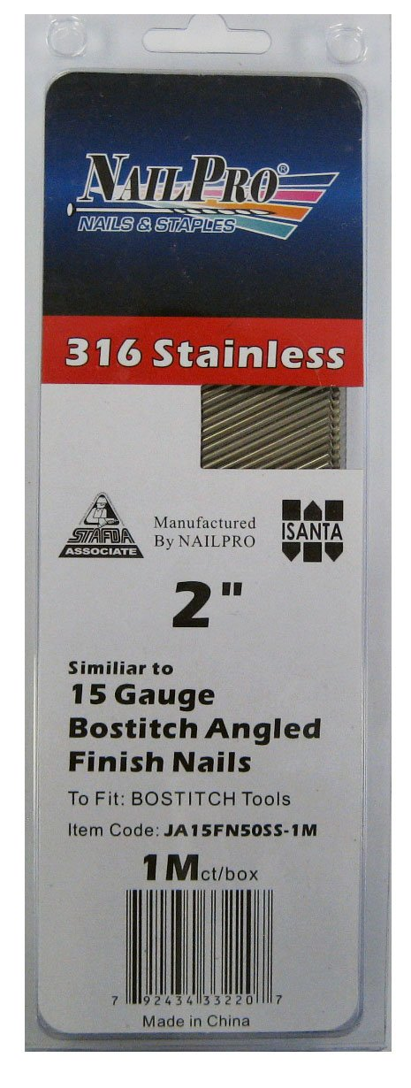 2'' x 15 Gauge Angled Finish Nails - to fit Bostich Nailers - 1000 pc. pack - Type 316 Stainless Steel (Salt Water Safe)
