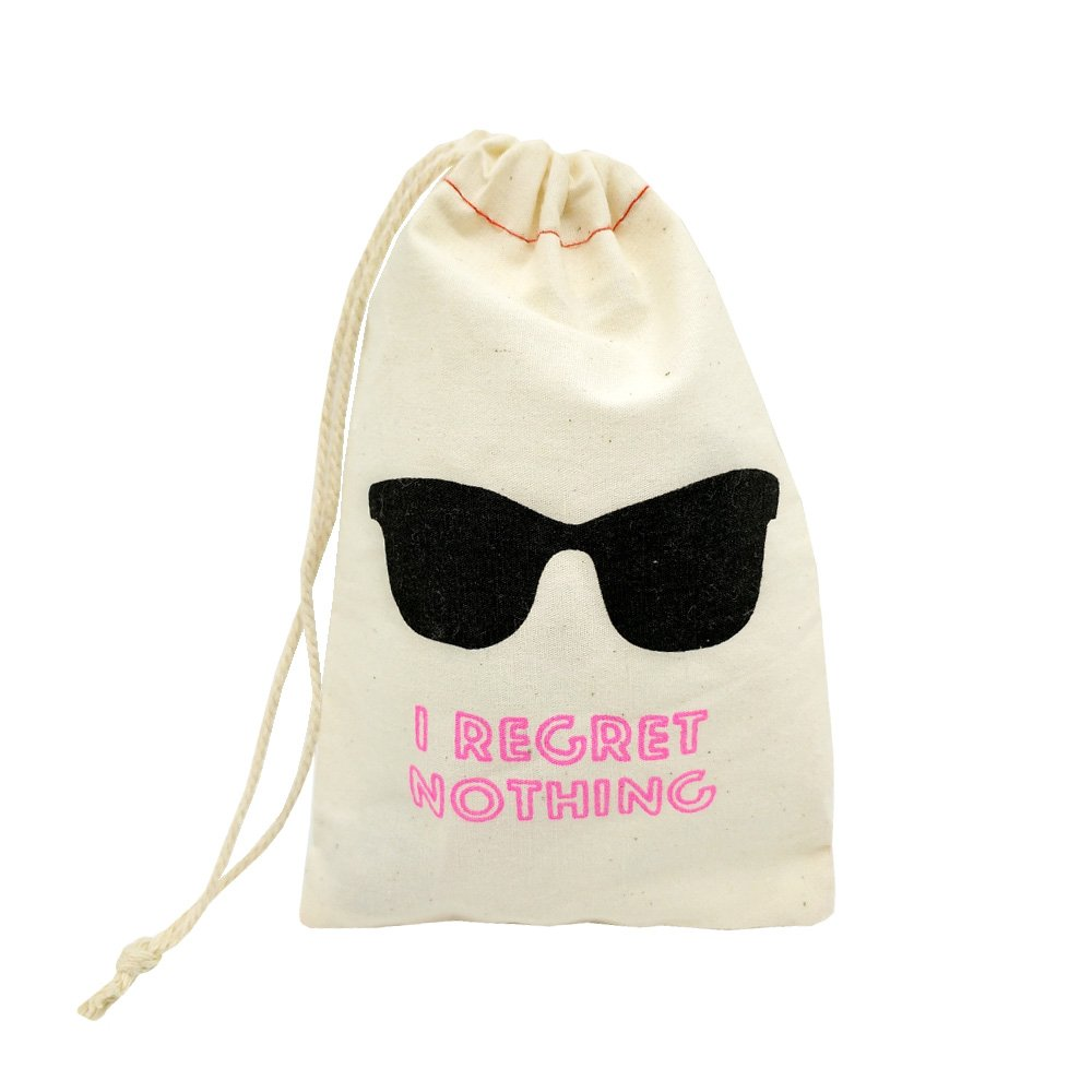La Homein Sanrich 20pcs Eyeglass Pouch Bags With Drawstring 4x6 inch Hangover Kit Bags I Regret Nothing Bag