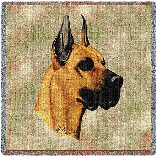 Pure Country 1156-LS Great Dane Pet Blanket, Canine on Beige Background, 54 by 54-Inch