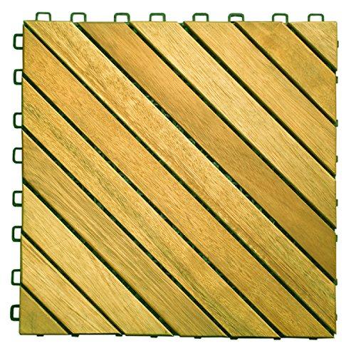 (VIFAH V368 Acacia Hardwood 12-Slat Deck Tiles, 10-Pack)