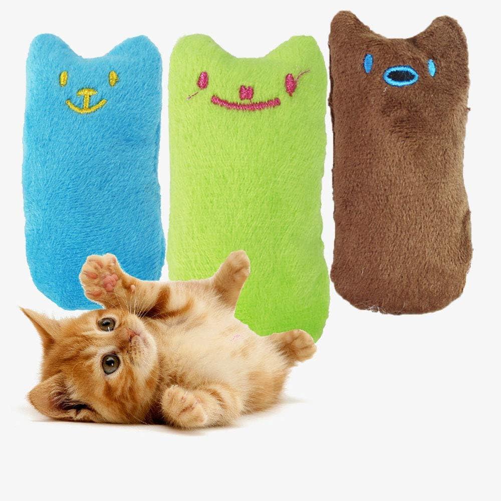 Cat Plush Toys Interactive Catnip ChewingToys Catnip Toys munloo Catnip Pillows Three-Color Cat Toys with Catnip Cat Pillows blue green brown