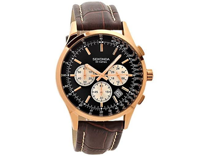 7aaca9da362 Image Unavailable. Image not available for. Colour  Sekonda Men s Quartz Watch  with Black Dial Chronograph Display and Brown Leather Strap 3413.27