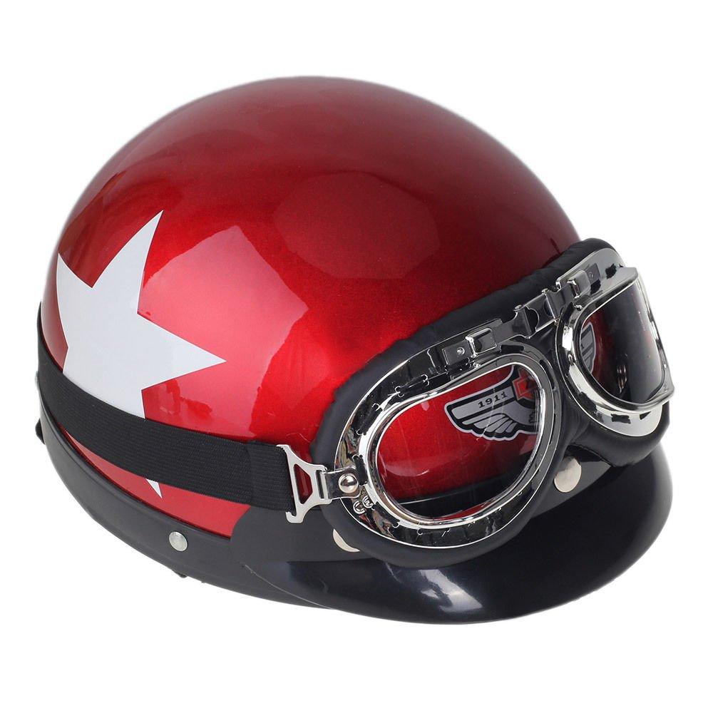 Shsyue® Casco Retro Casco Protector de Seguridad para Motocicletas con Gafas de Visera Patrón de Estrellas Rojo 0170