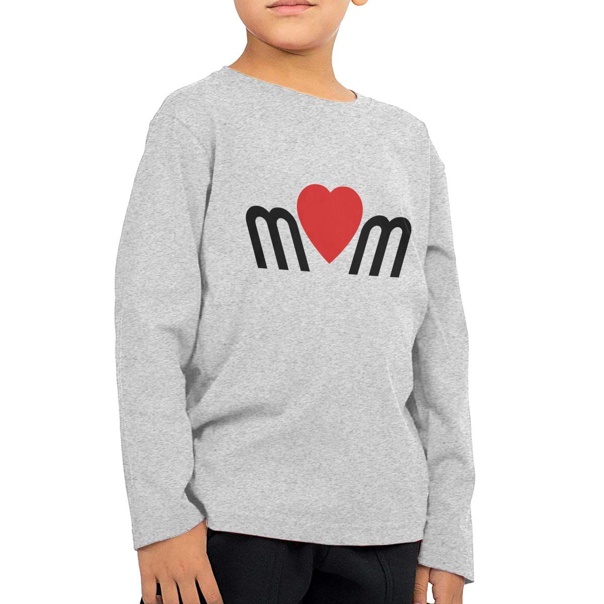 Mom Love Childrens Gray Cotton Long Sleeve Round Neck T-Shirt for Boy Or Girl