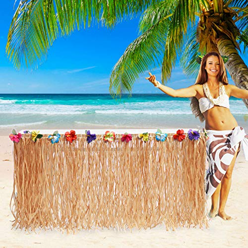 9ft Hawaiian Luau Grass Table Skirt Raffia Table Skirt Rectangle Hula Table Skirt for Hawaiian Theme Party Decorations,Luau Party Decorations Supplies,Moana Party Supplies,Tropical Party Decorations -