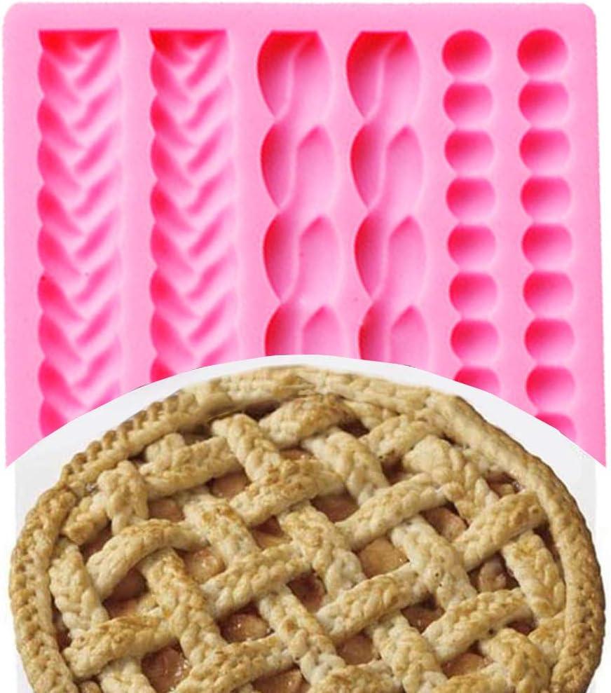 Silicona Molde Forma de Perlas Trenzada Cuerda N\O Molde de Silicona para Decoraci/ón de Pastel Fondant,Molde Decorativ Chocolate DIY para decoraci/ón de Tartas