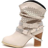 ZODOF Botas de Mujer Botas Retro Navidad Boots
