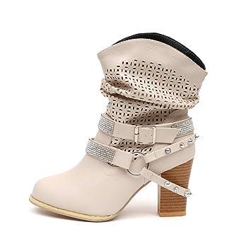 cab8e90ba622f Zapatos Mujer Otoño Invierno ZARLLE Moda Ahueca hacia Fuera Botines Señoras  Talón Mitad Boots Zapatos Botas de Plataforma Zapatos de tacón Zapatillas  ...