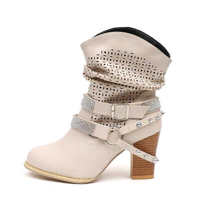 ❤ Botas Mujer Invierno Tacon,Zapatos calados tacón Alto con Botas de Diamantes de imitación Botas para niños Europeos y Americanos Absolute: Amazon.es: ...