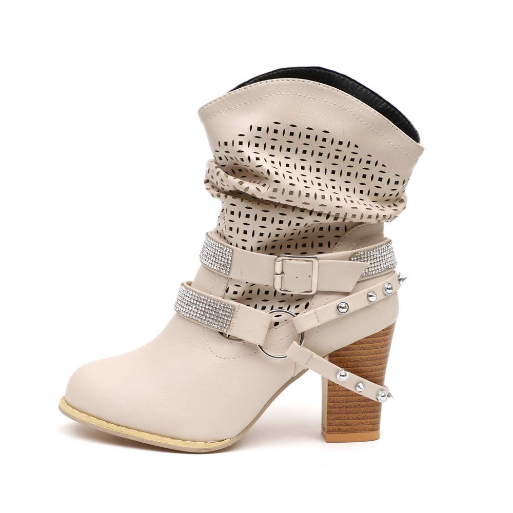 Londony ♪✿ Clearance Sales,Women's Hollow Out Fashion Slip On Motorcycle Boots Lace Up Mid Calf Buckle Booties