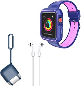 VanGoddy Silicone Skin for AirPods Charging Case and Blue Pink Protective Shockproof Hybrid Band Case for Apple Watch 42mm Series 3, Series 2, Series 1