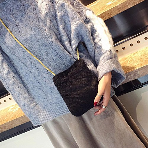 Korean Widewing Handbag Crossbody Plush Small Bag Hemp Girls Cute for Black Women rr7Htdxw