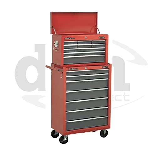 Sealey Red 9 Drawer Top Box Chest & 7 Drawer Roller Cabinet Roll ...