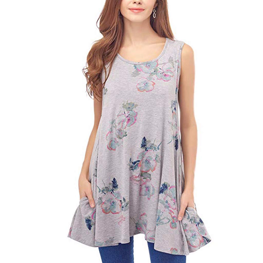 Iusun Womens Maternity Tops Floral O-Neck Layering Plus Size T-Shirt Mom Nursing Sleeveless Breastfeeding Pregnants Summer Cloth