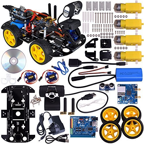 Kuman SM3 Wi-Fi Robot Car Kit for Arduino, 4 Wheel Utility Vehicle wifi Intelligent Robotics arduino DS robot HD camera wireless Robot Smart Car kit 7.4V
